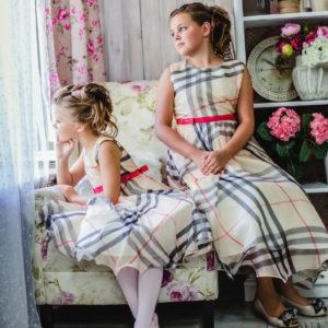 платье для девочки в клетку шифон