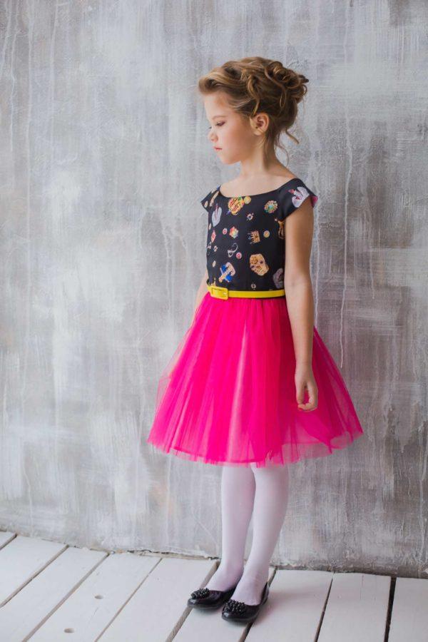 нарядное платье +для девочки Корона с принтом