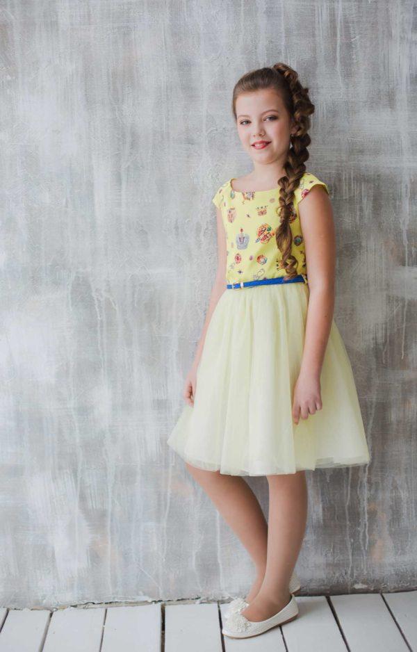 желтое нарядное платье +для девочки Корона