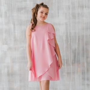 стильное розовое платье для девочки подростка