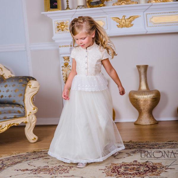 белое платье для девочки со стоечкой