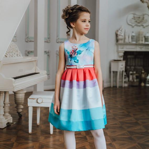 детское платье +с цветочным принтом