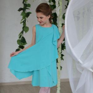 стильное бирюзовое платье для полной девочки Сильва