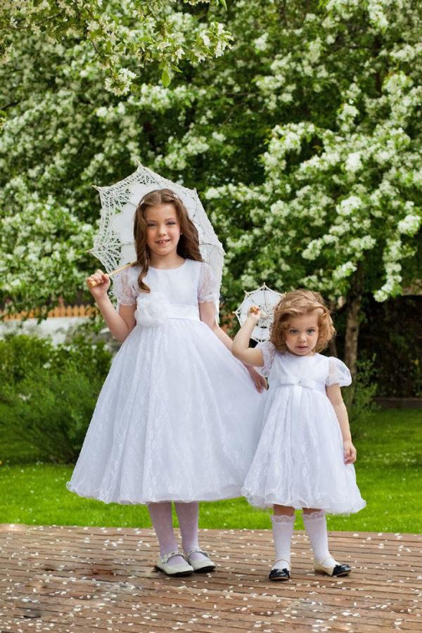 белое кружевное платье +для девочки