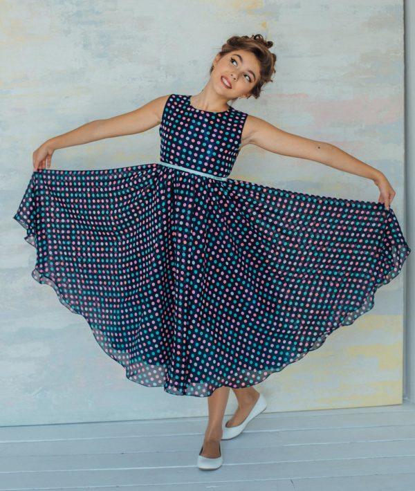 шифон платье горошек девочка
