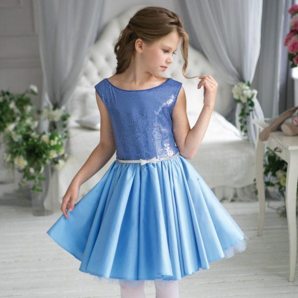 блестящее платье с пайетками голубое