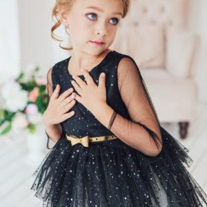 пышное длинное черное белое нарядное платье с блестками +для девочки