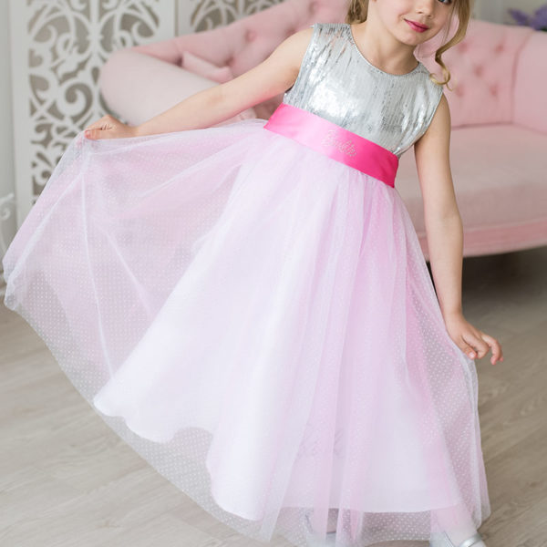 бальное платье для девочки с блестками Barbie