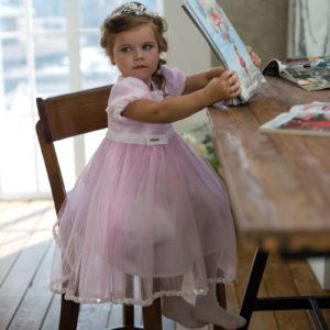 розовое нарядное платье +для маленькой девочки