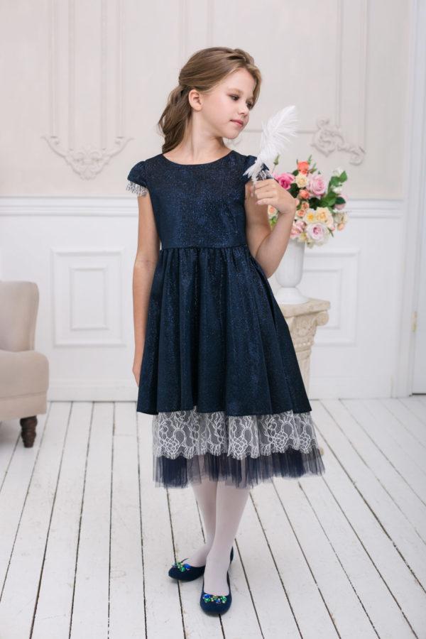 платье-трансформер для девочки блестки кружево синее