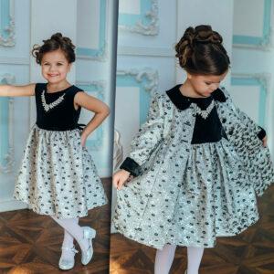 серебряное платье пальто +для девочки Новый год