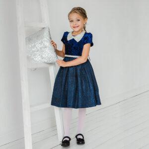 синее бархатное платье для девочки