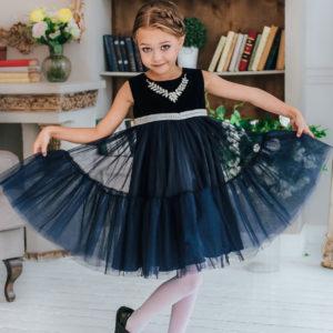 синее пышное платье +для девочки +на Новый год стразы