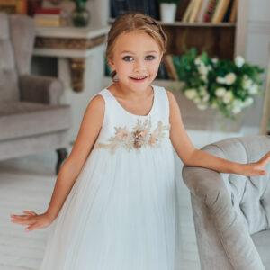 белое пышное платье А-силуэт +для девочки +на Новый год стразы