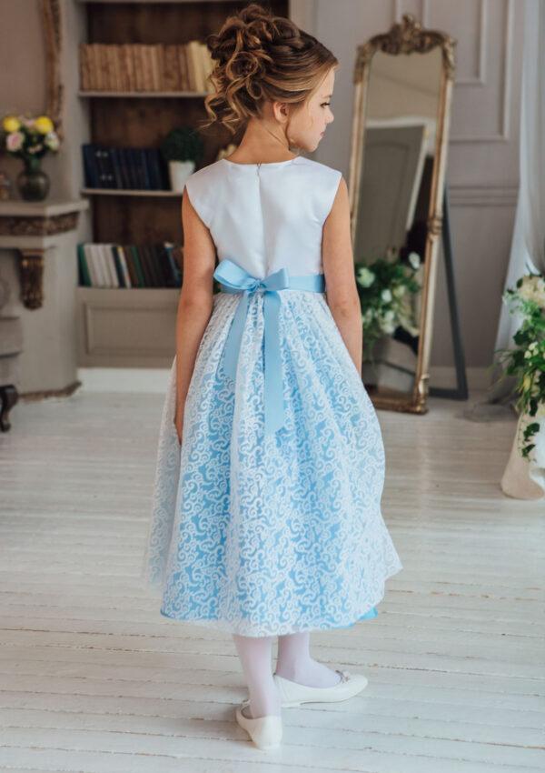 голубое нарядное платье +для девочки