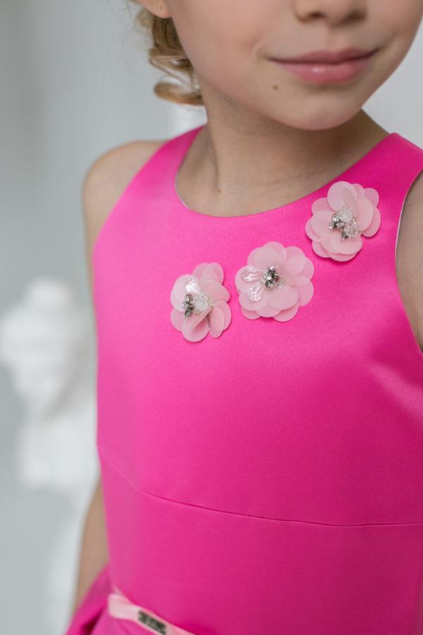 длинное розовое платье +для девочки +в стиле Barbie