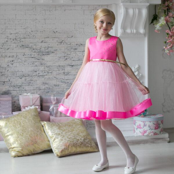 розовое пышное нарядное платье +для девочки Barbie