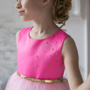 розовое пышное нарядное платье +для девочки