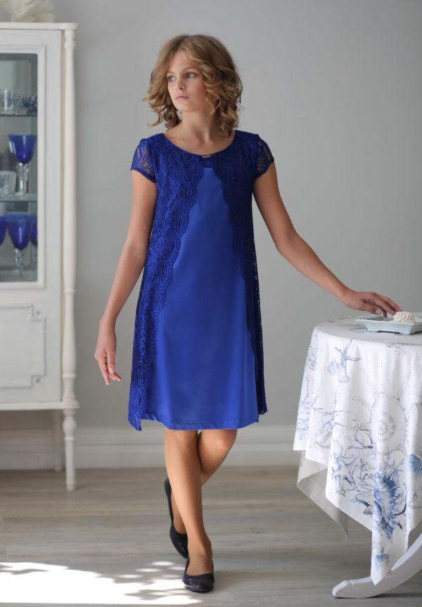 синее кружевное платье для девушки