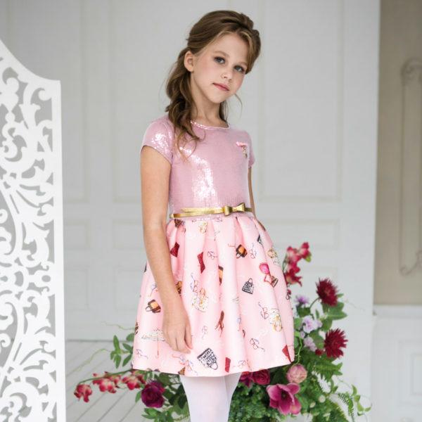 розовое платье +с пайетками и +с принтом +для девочки Новый год