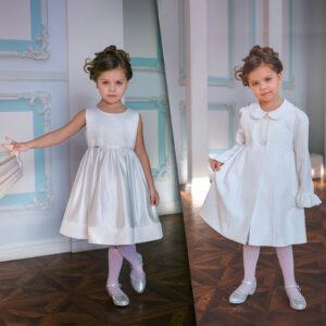 нарядное белое платье пальто +для девочки выпускной детский сад