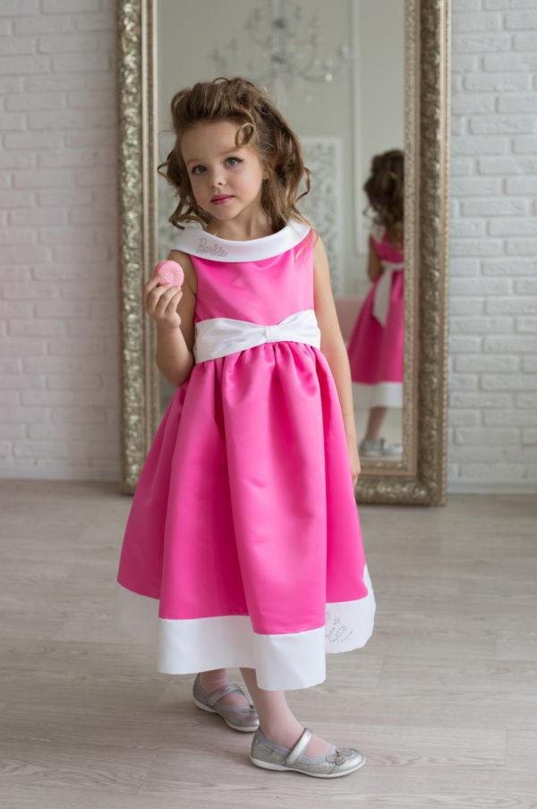 стильное розовое платье +для девочки Barbie
