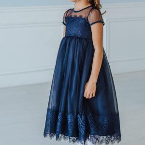 кружевное платье для девочки синее