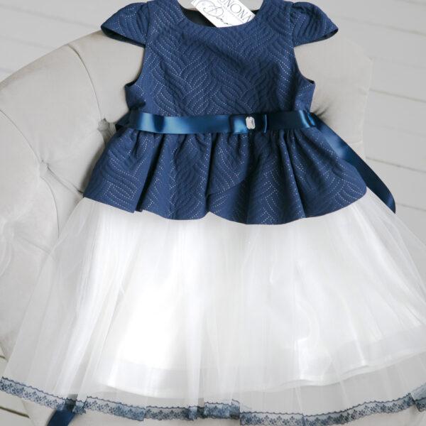 Пышное бело синее платье для девочки