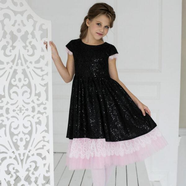 платье-трансформер для девочки блестки кружево черное