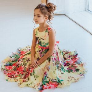 платья для девочек 8 9 10 лет нарядные с цветочным принтом