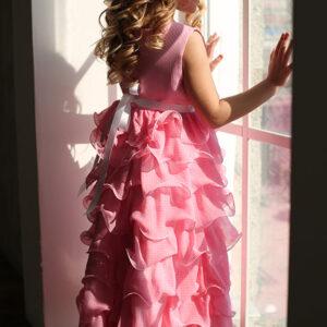 нарядное платье для девочки 6 7 8 9 лет с оборками из шифона в горошек
