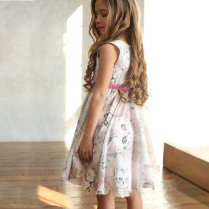 платье для девочки нарядное с принтом кошки