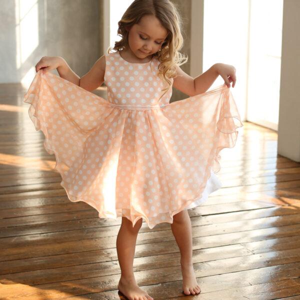 шифоновое платье для девочки нарядное с принтом в горох