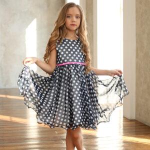 шифоновое платье для девочки в горох