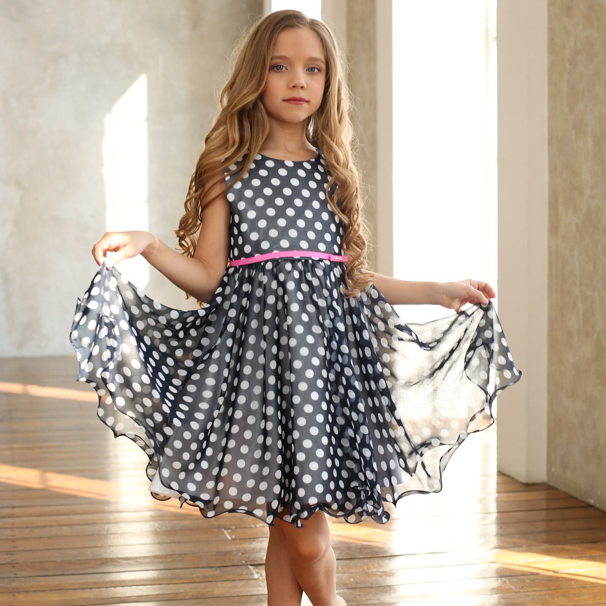 3ab7f82278e Горошки синее — Нарядные платья для девочек интернет-магазин ЭриБэрри