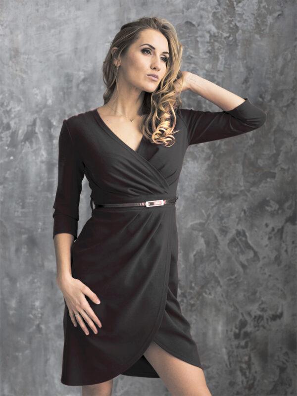 женское трикотажное платье черное