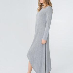 женское трикотажное платье с длинным рукавом