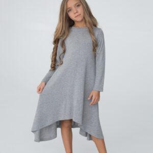 трикотажное платье для девочки с длинным рукавом