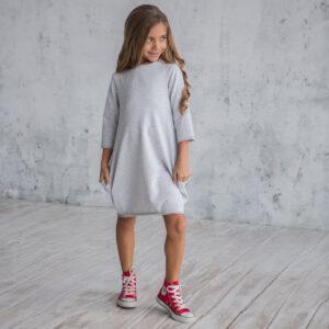 трикотажное платье с зауженным низом для девочки