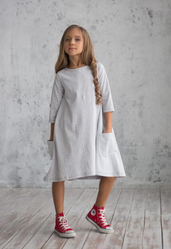 Платье трикотажное свободного силуэта детское