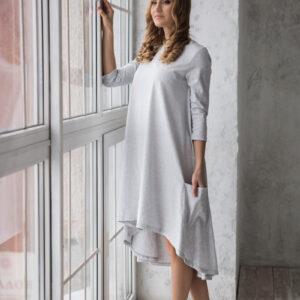 Платье трикотажное женское свободного силуэта серое