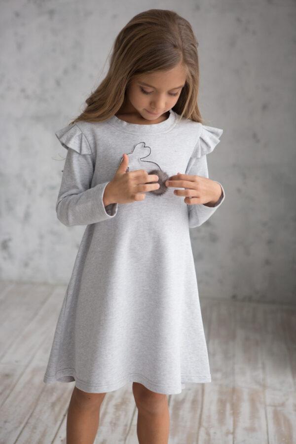 платье трикотажное детское с зайчиком