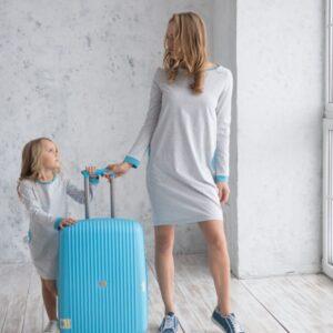 спортивное трикотажное платье для мамы и дочки