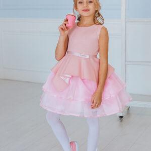 пышное платье для девочки с фигурной баской