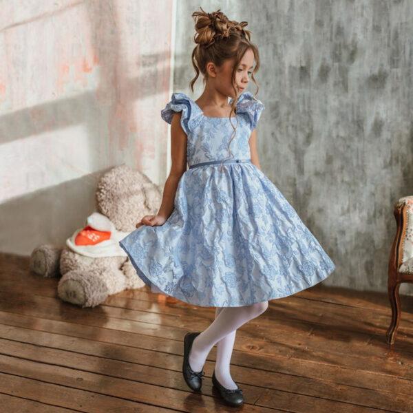 нарядное платье для девочки из голубого жаккарда Ниагара