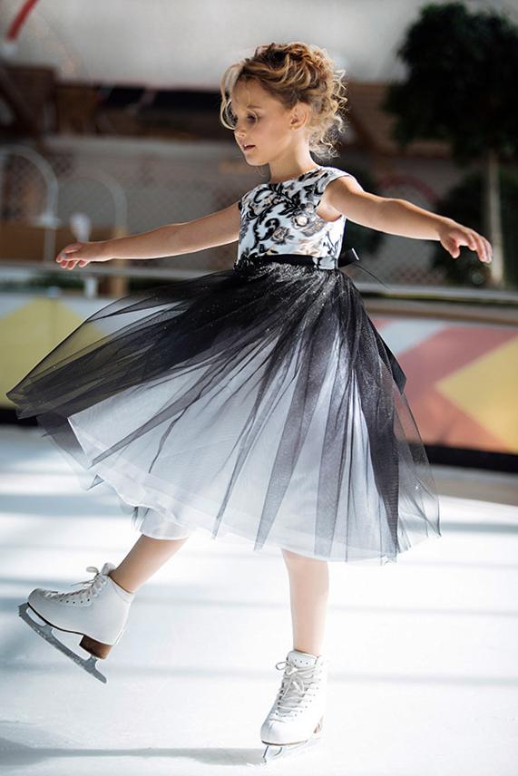 пышное черное белое нарядное платье для девочки