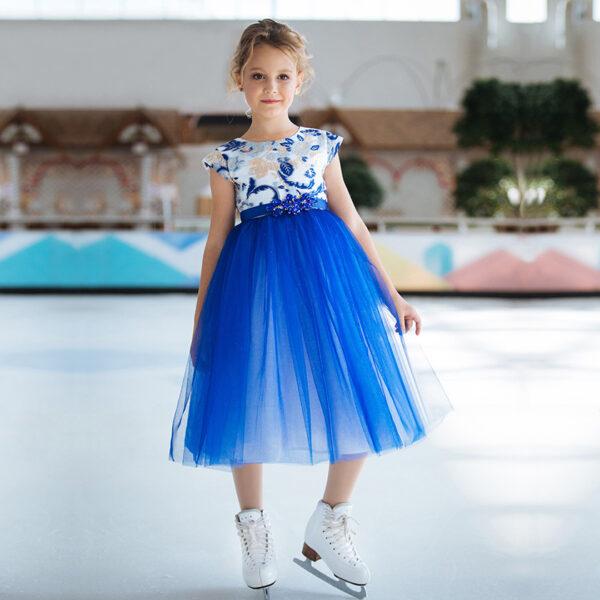 пышное синее белое нарядное платье для девочки