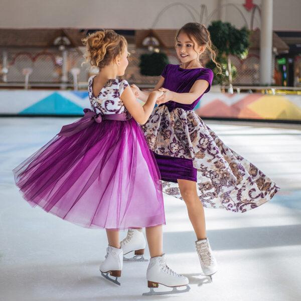 пышное фиолетовое белое нарядное платье для девочки