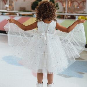пышное нарядное платье для девочки белое молочное сетка блестки