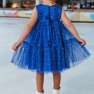 пышное нарядное платье для девочки синее сетка блестки